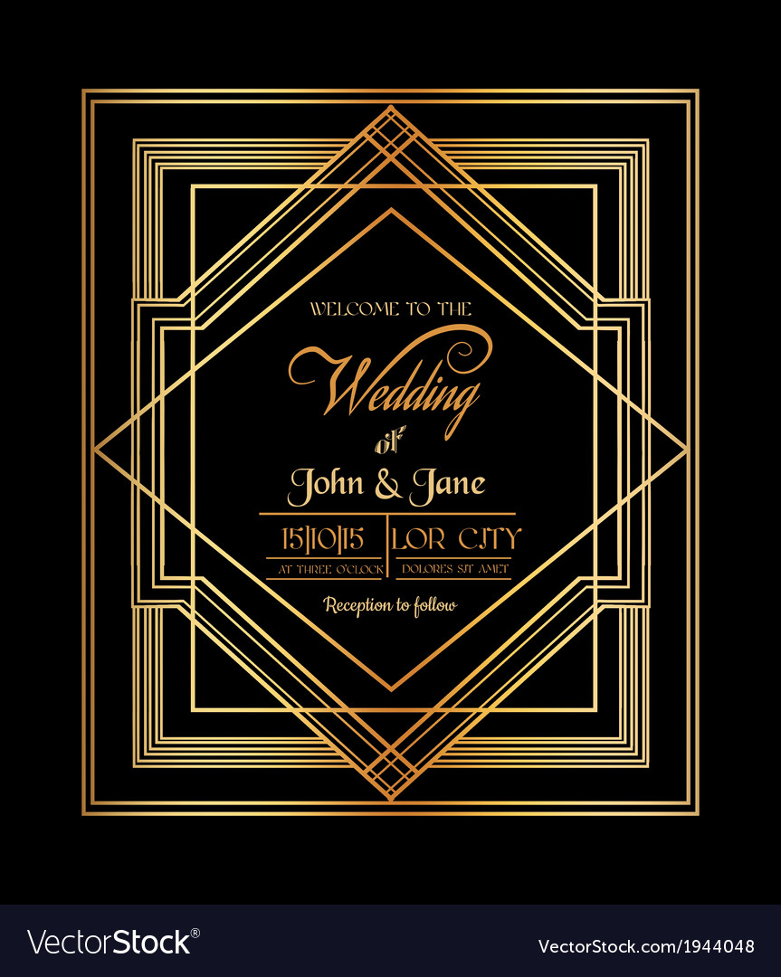 wedding invitation card art deco gatsby style vector image
