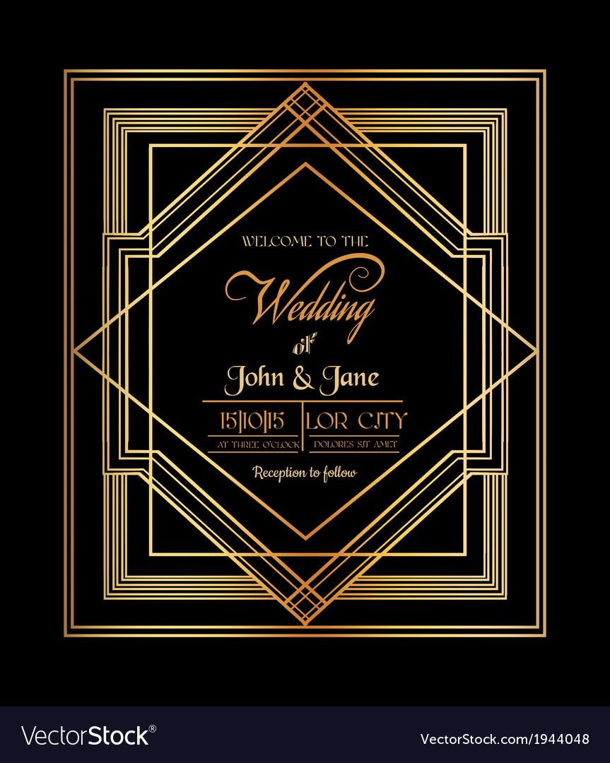 Wedding invitation card - art deco gatsstyle