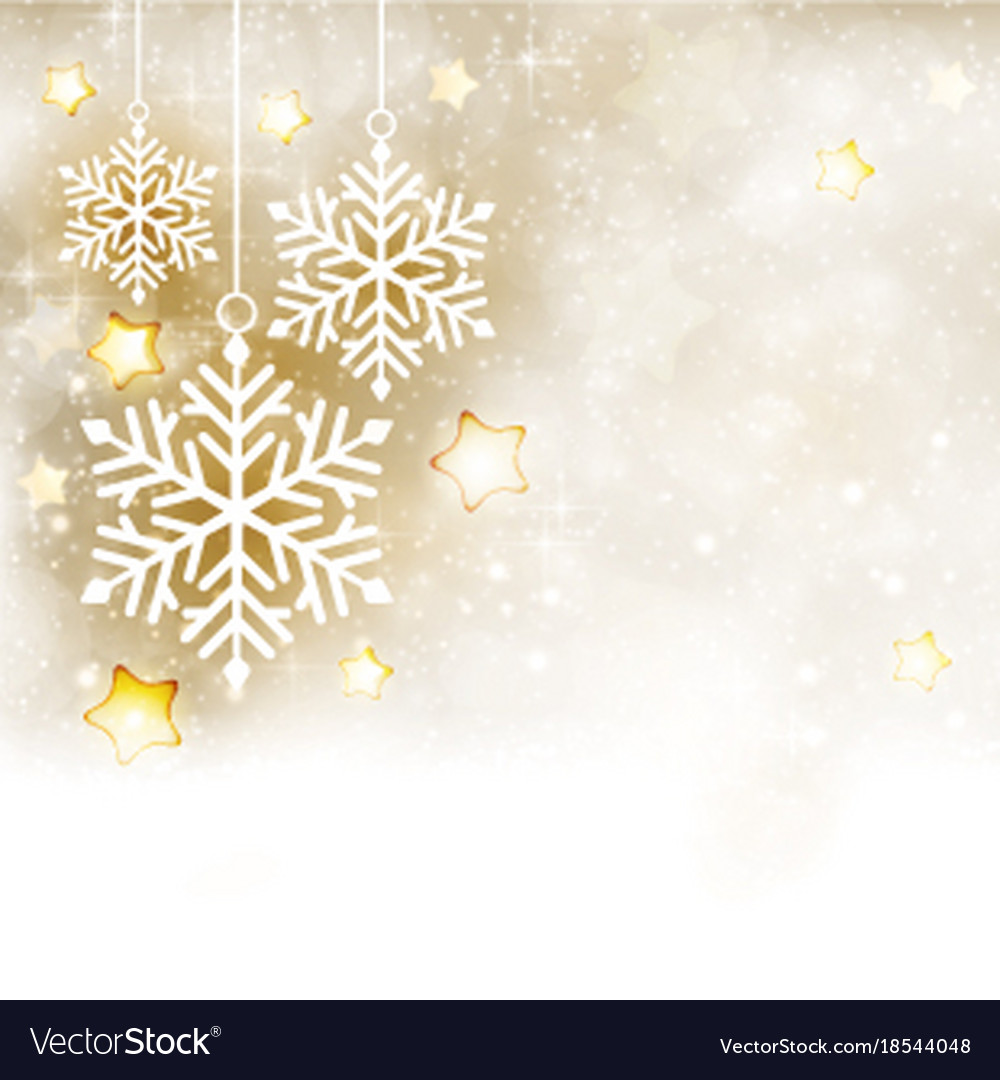 White golden winter christmas background with