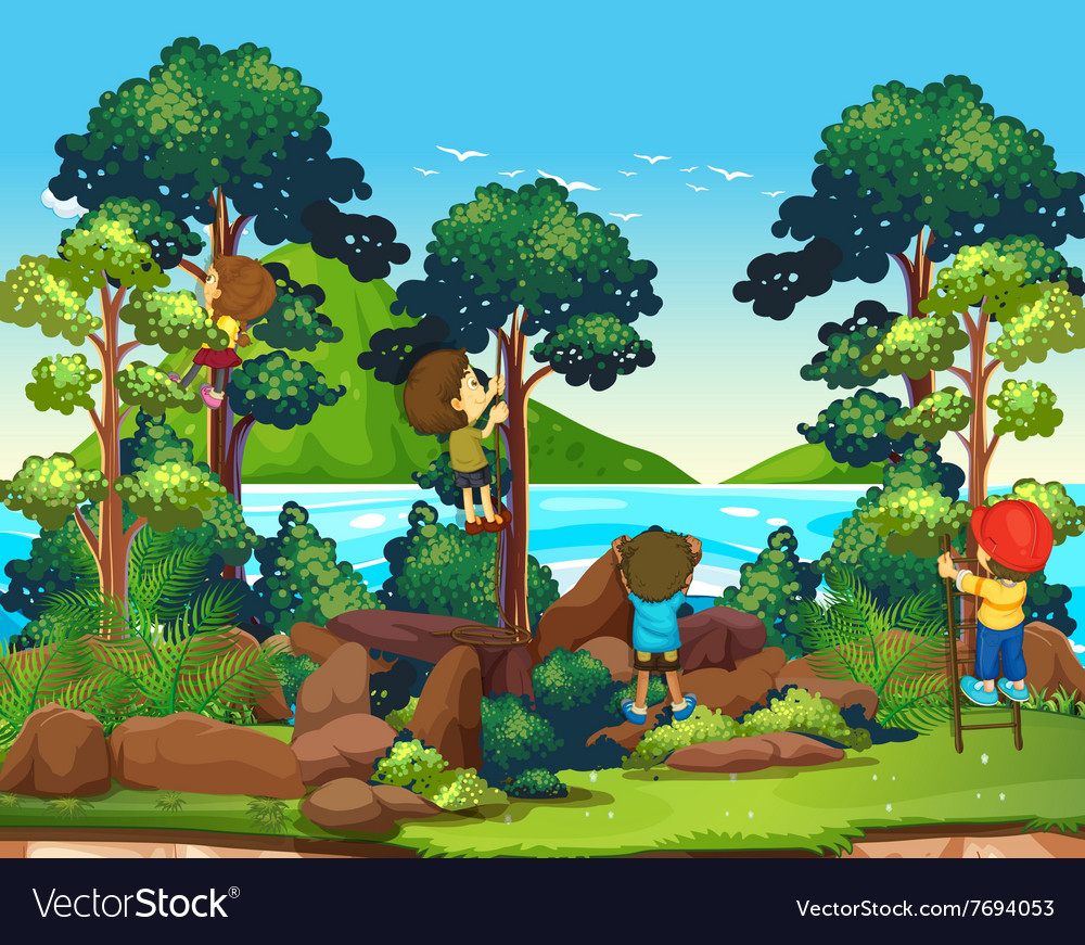 Children climbing up the tree vector image