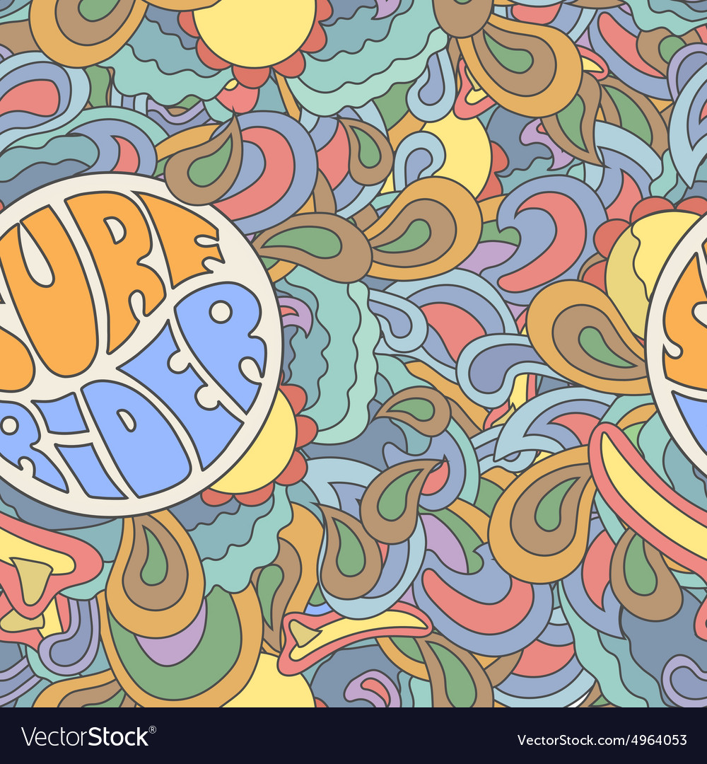 Colored surfing retro hand drawn pattern Summer