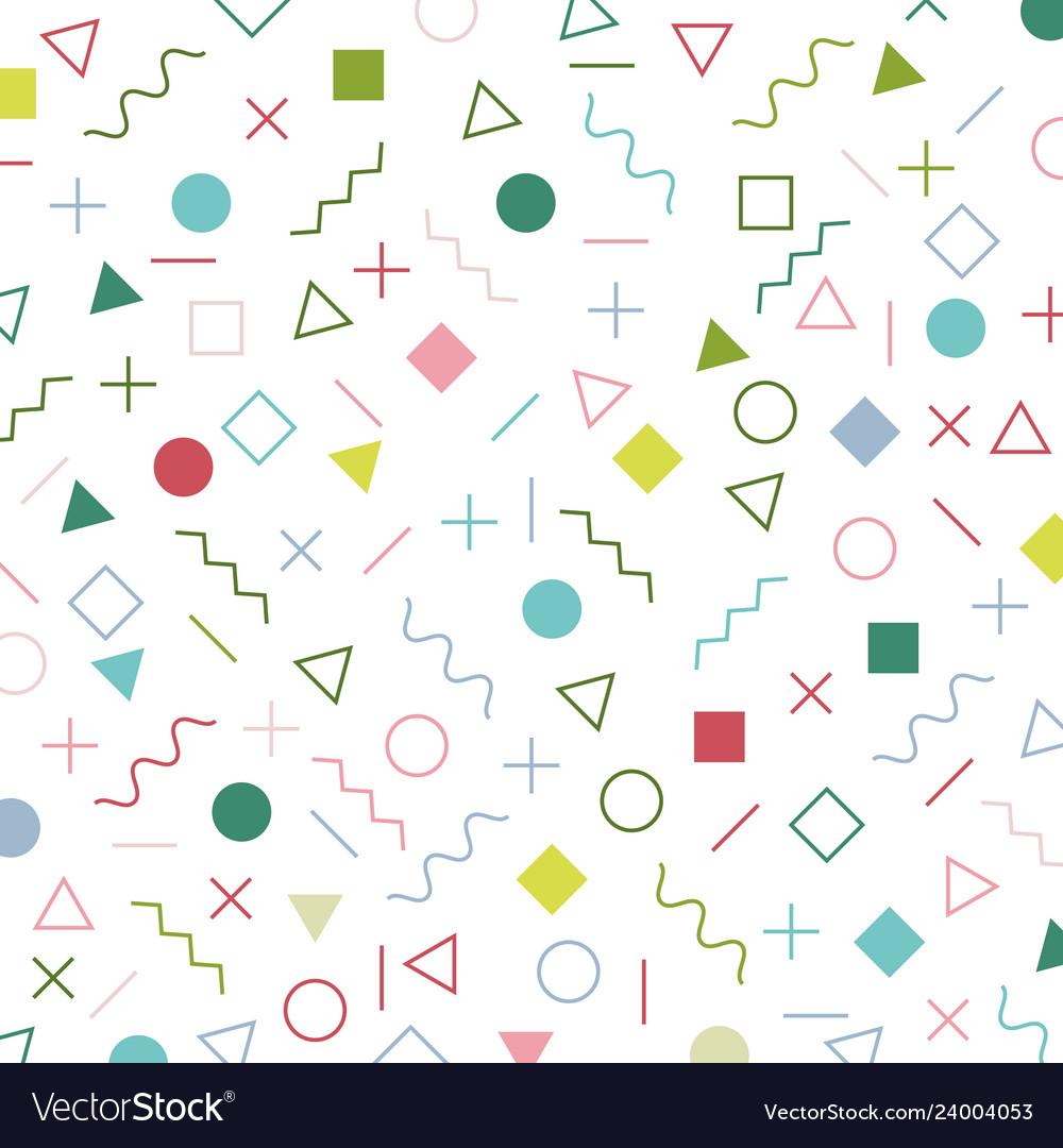 Colorful geometric elements memphis style pattern