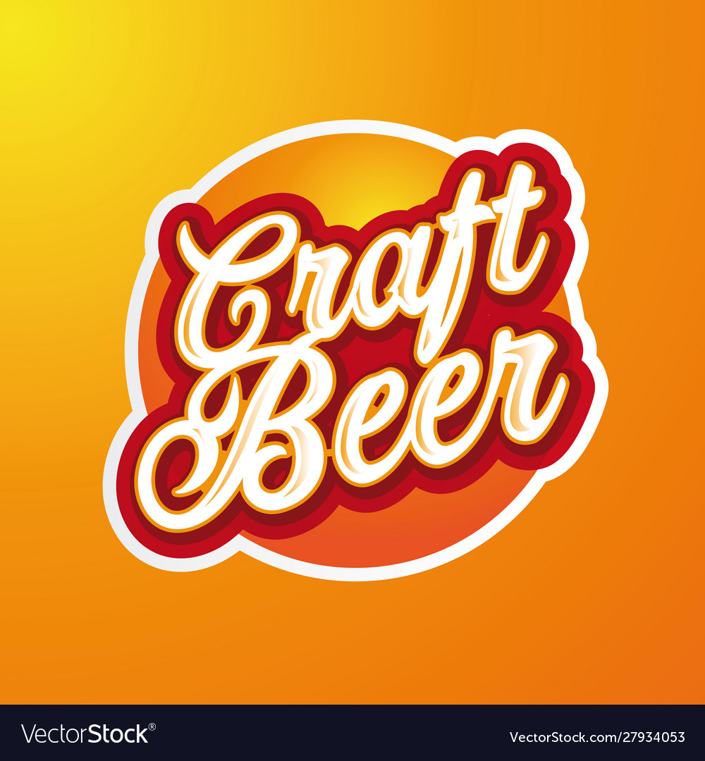 Craft beer sign label lettering
