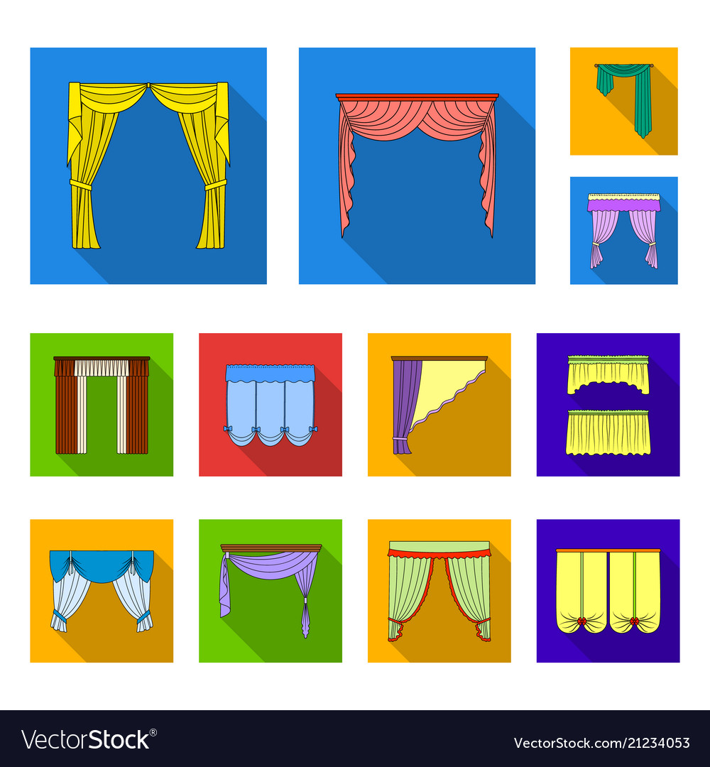 Curtains Flat Icons In Set Vector Image