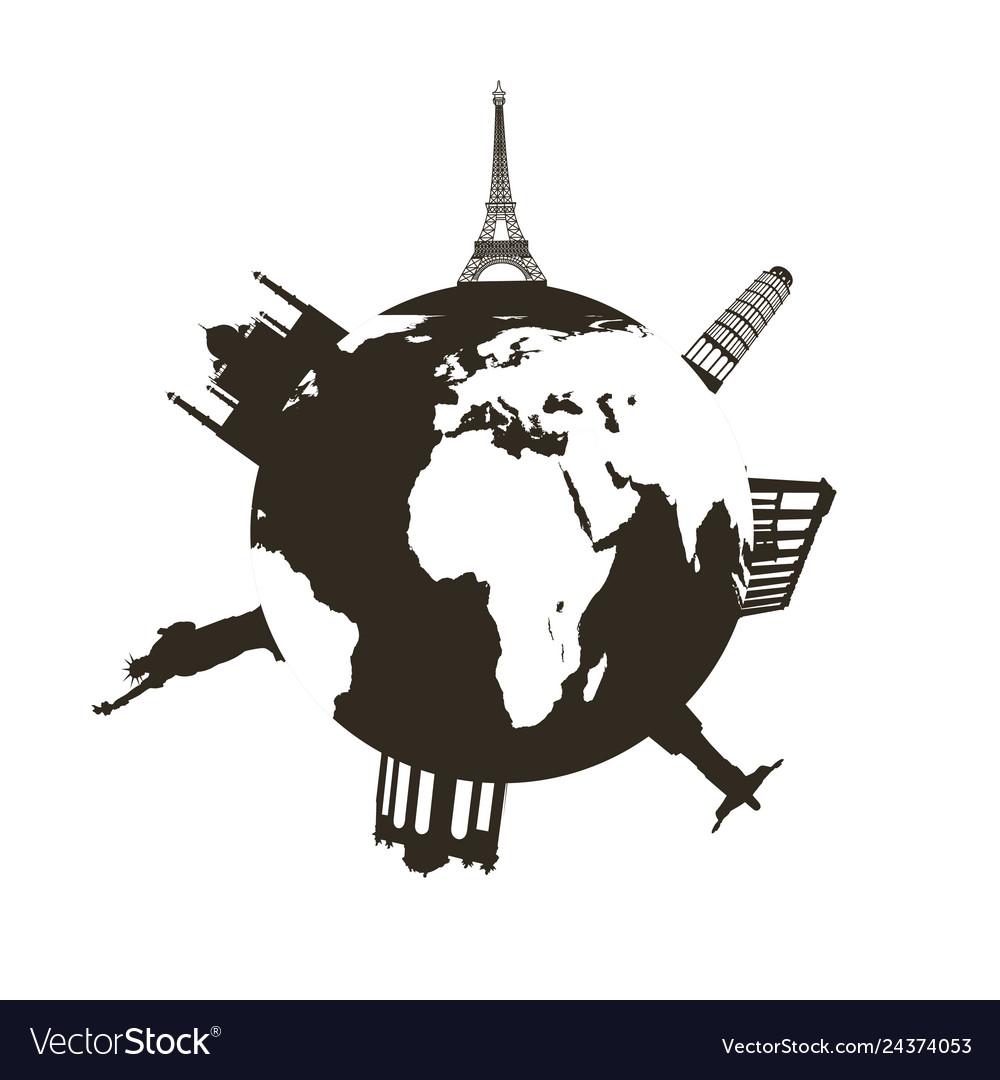 Earth landmark set flat icon on white background