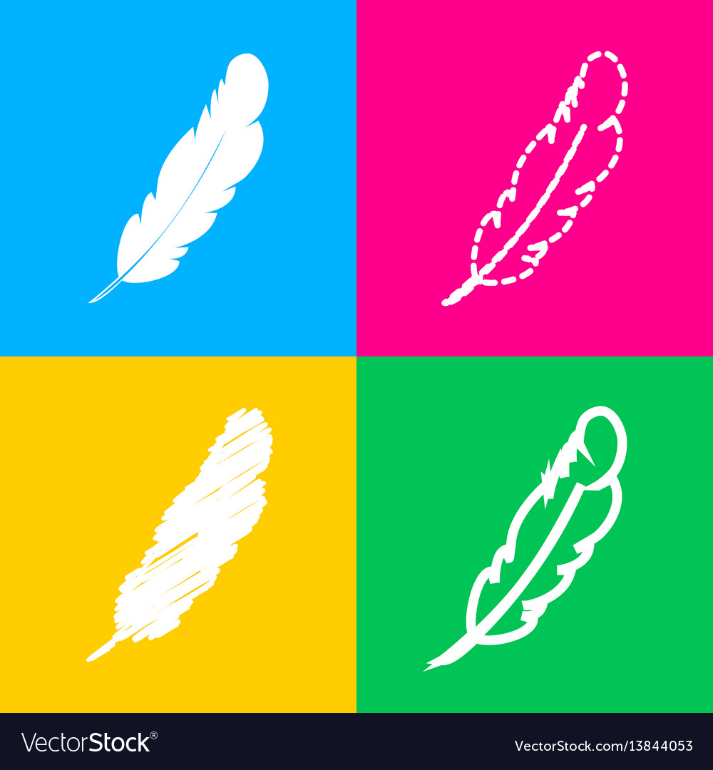Feather sign four styles of icon on vector image