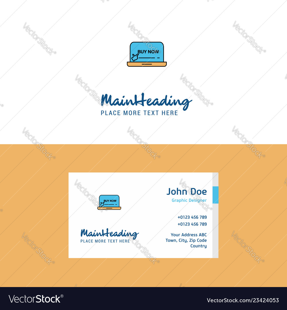 Flat online shopping logo and visiting card