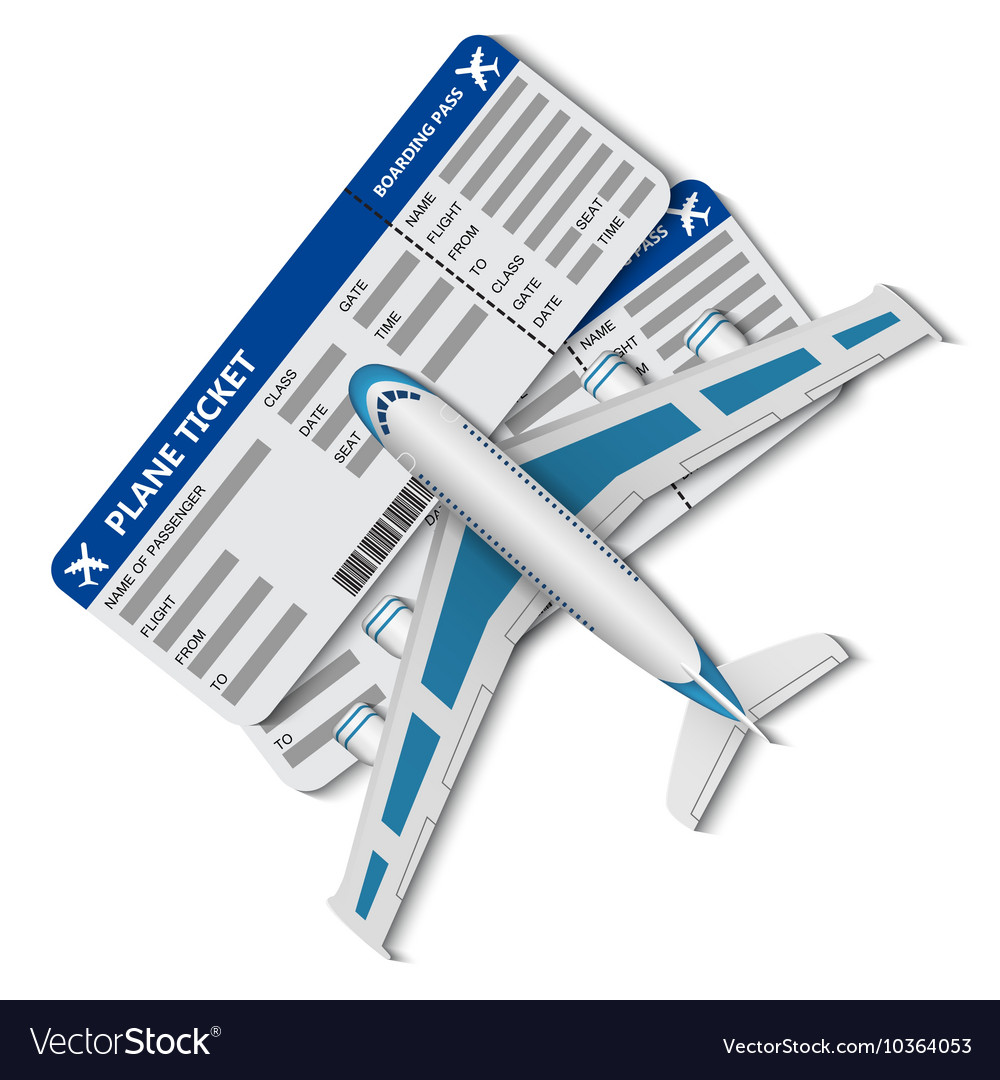 Flight tickets with airplane vector image