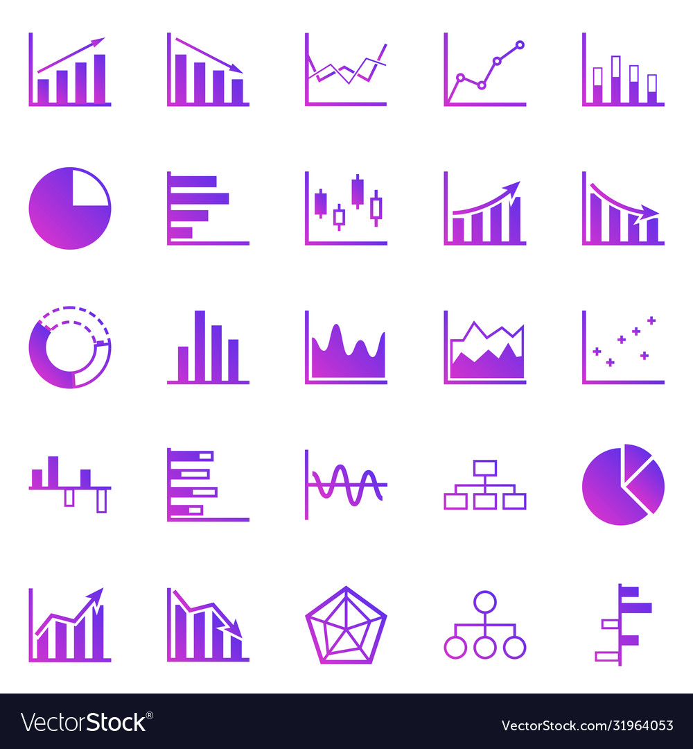 Graph gradient icons on white background