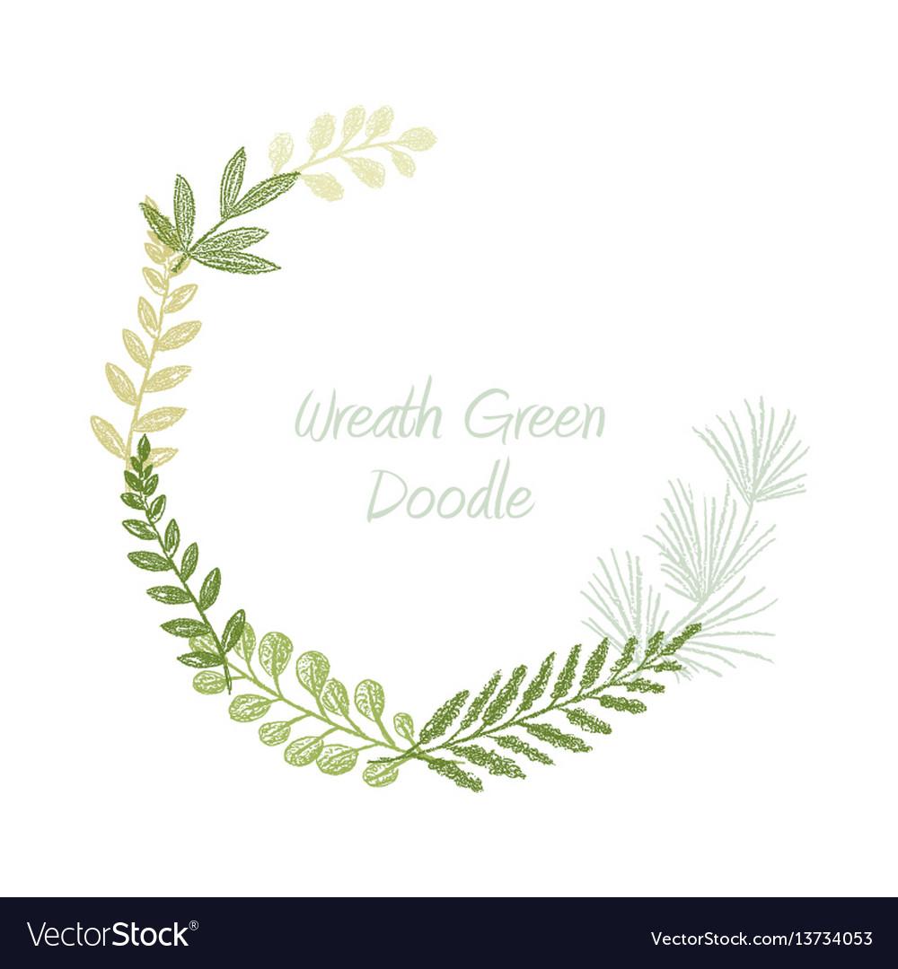 Greenery scribble hand drawn foliage border