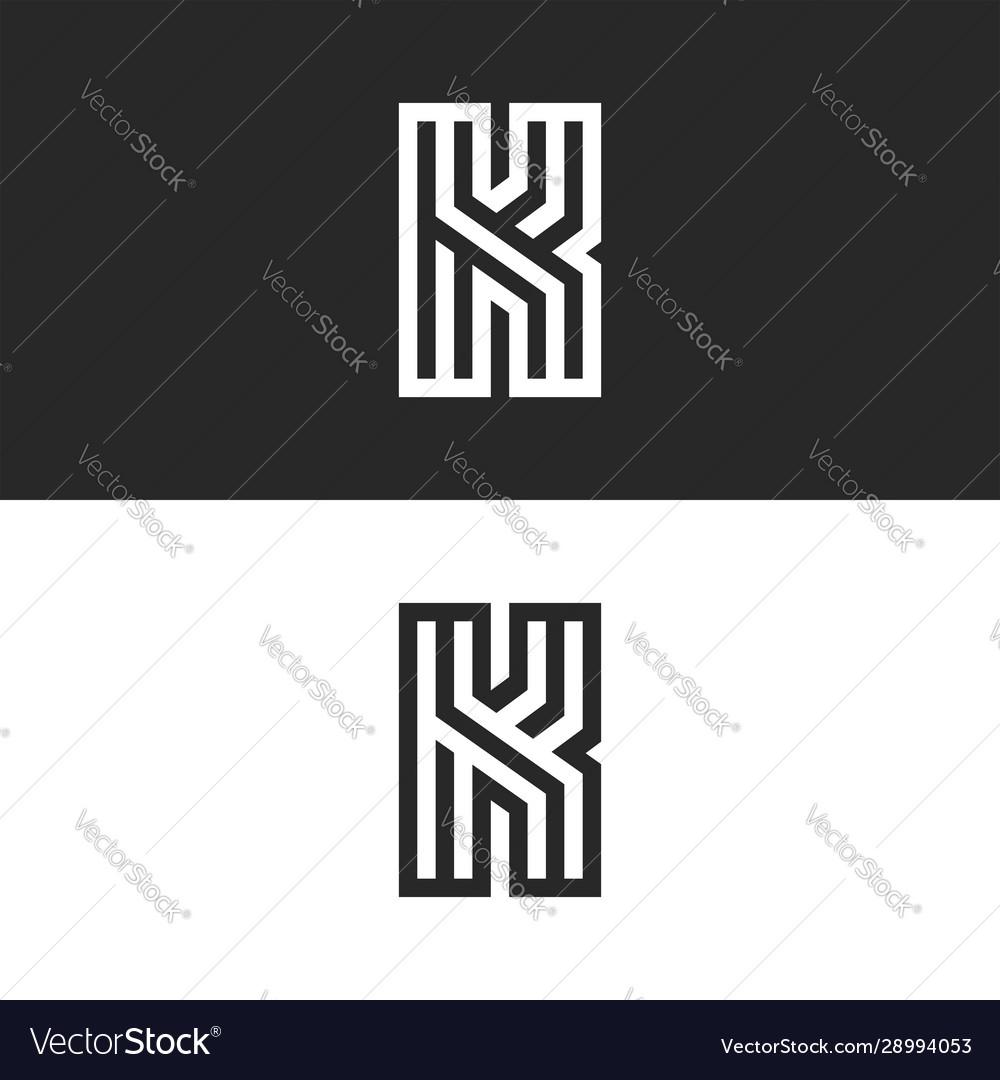 Letter k logo old monogram set black and white