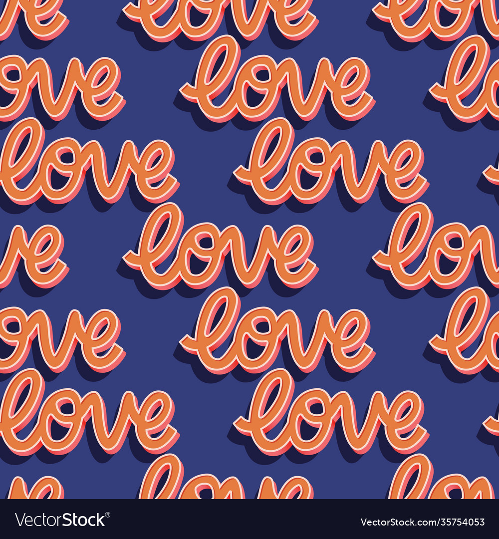 Seamless pattern with hand lettered message love