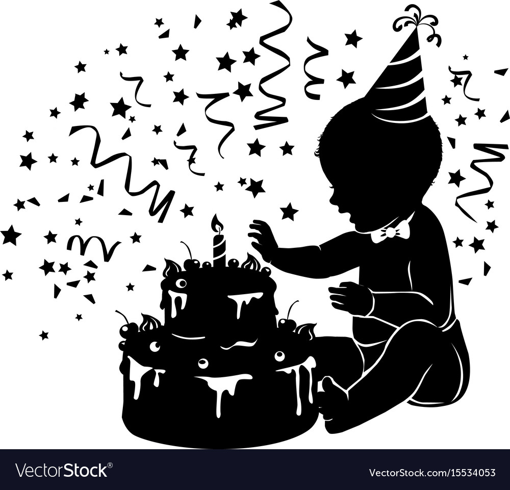 Silhouette baby with birthday cake with candle