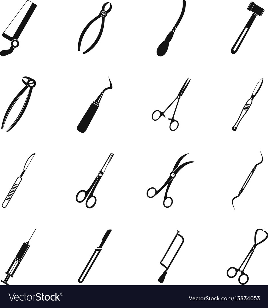 Surgeons tools icons set simple style