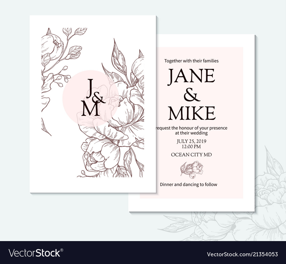 Vintage elegant wedding invitation card template