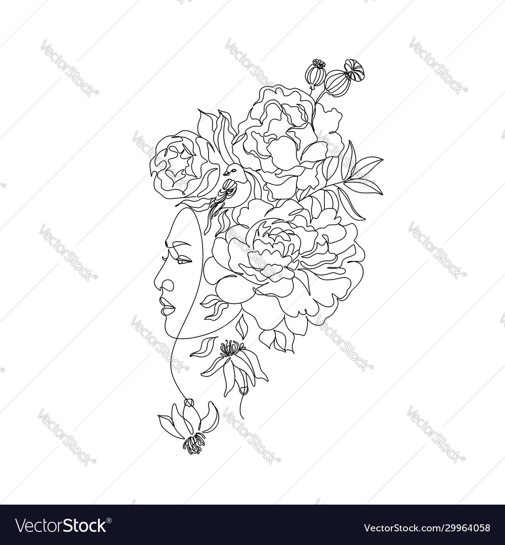Abstract face with flowers one line