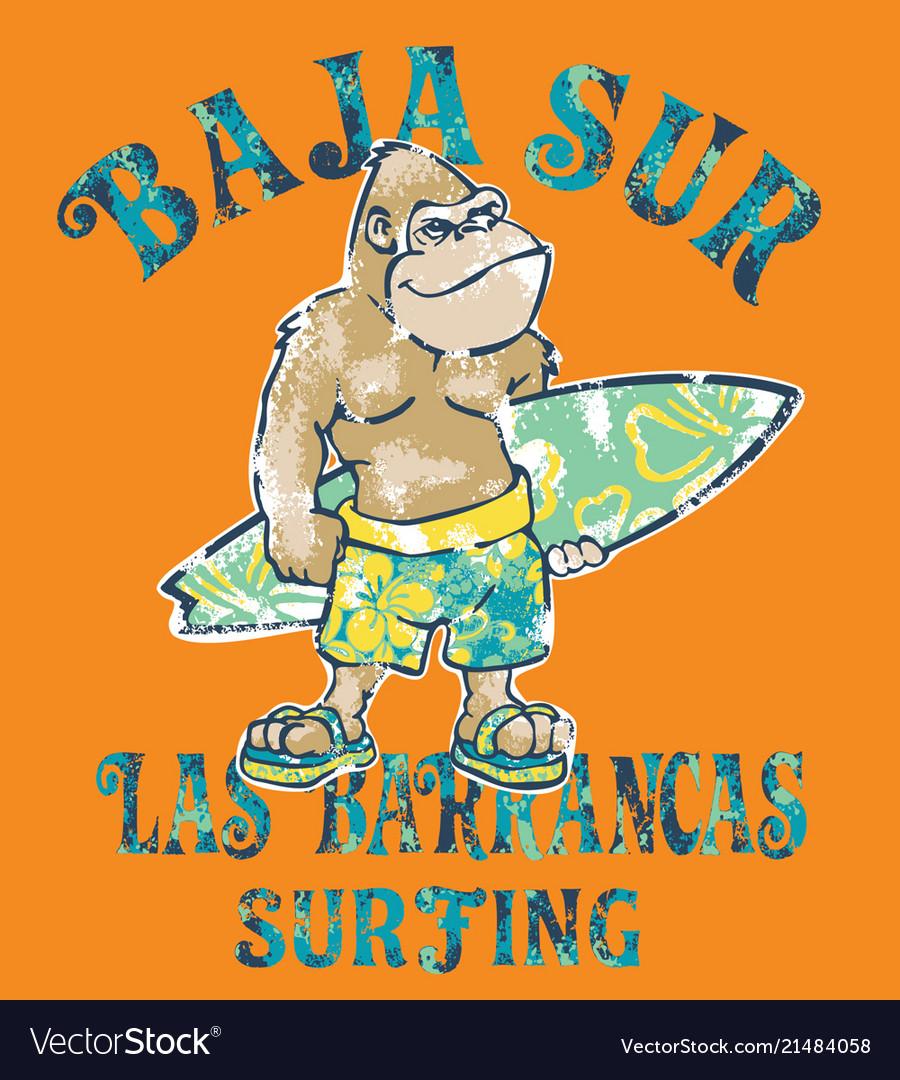 Baja sur cute gorilla surfer