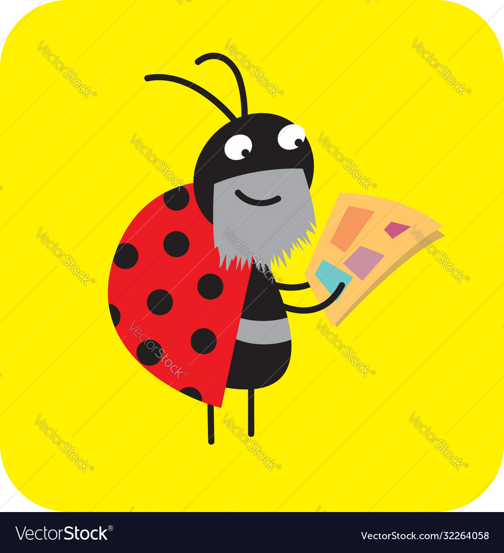 Bearded beetle reading morning newspaper