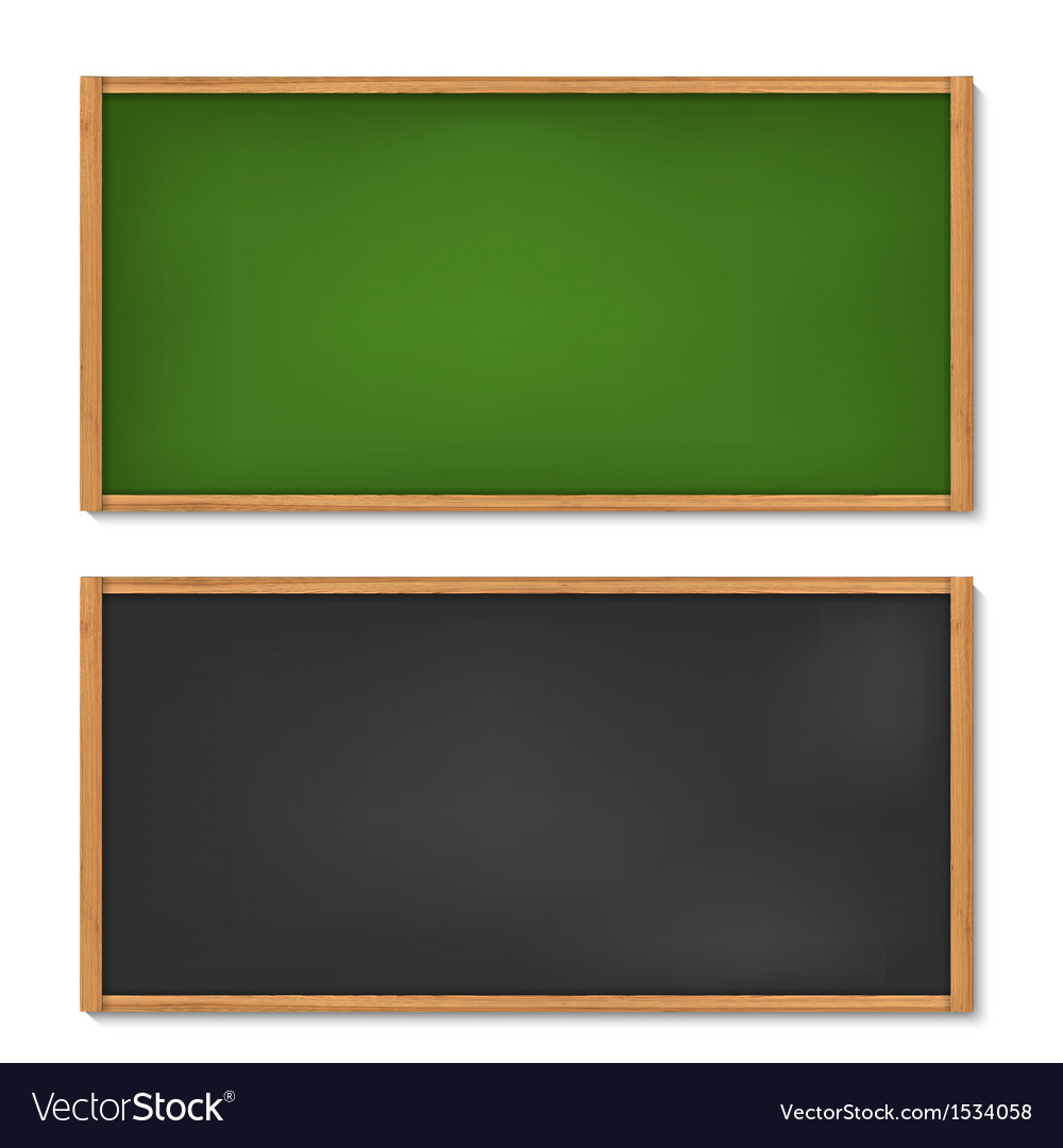 Blank black and green chalkboard with wooden frame