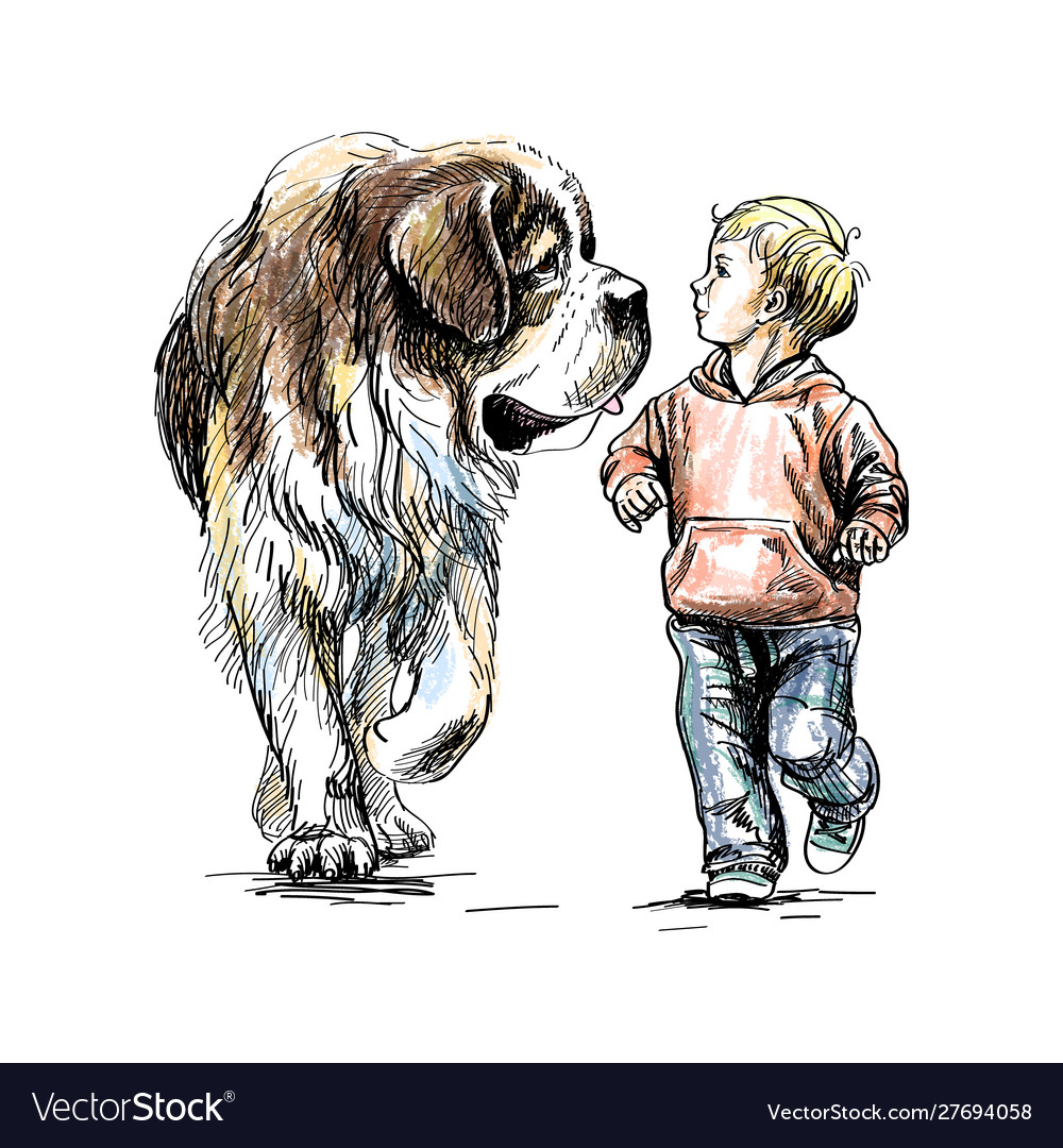 Boy is walking with a big dog on a white