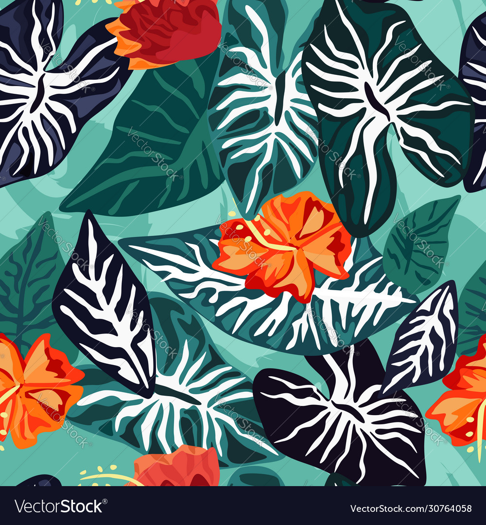 Tropical leaves with hibiscus flower seamless