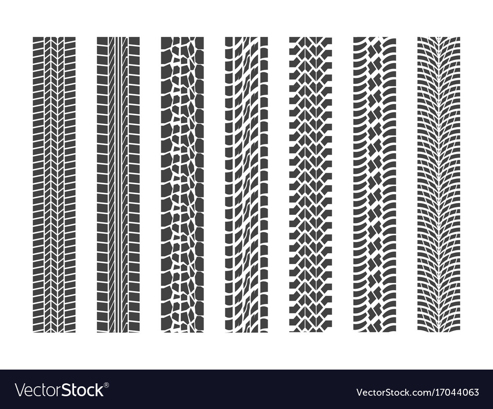 Black tire tracks wheel car set vector image