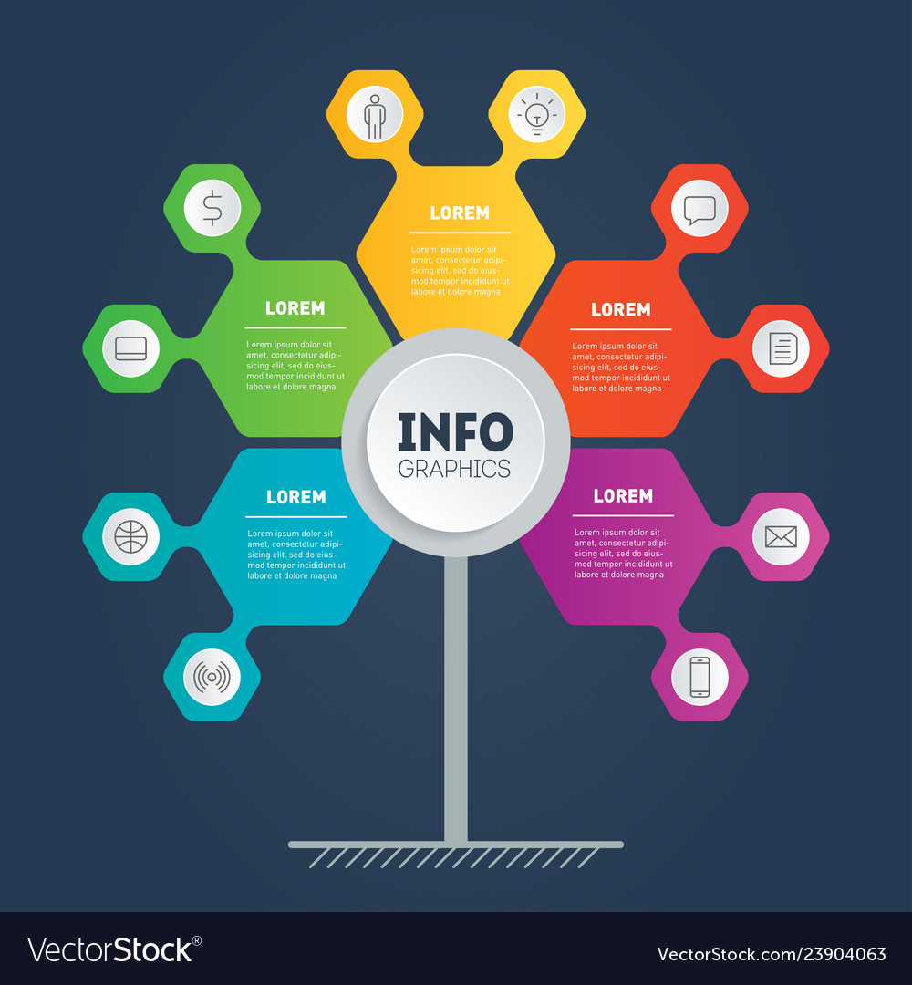 Business presentation concept with 5 options web