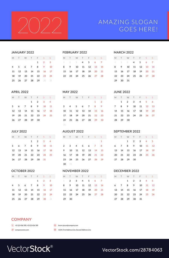2022 Calendar Monday Start.Calendar For 2022 Year Week Starts On Monday Vector Image