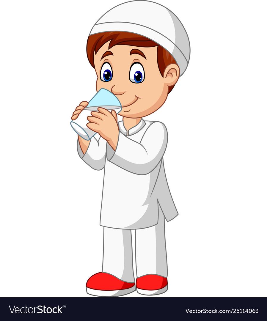 Muslim Kids Praying Cartoon