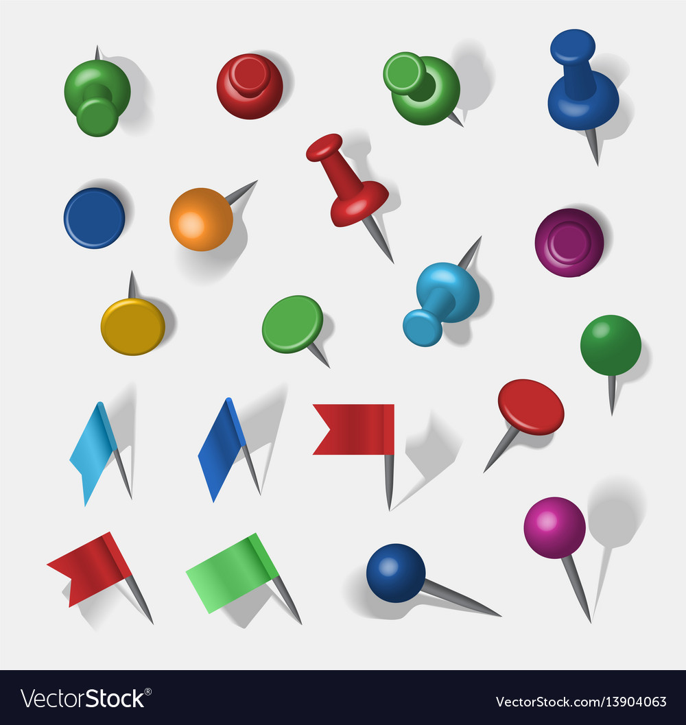 Colored pins vector image