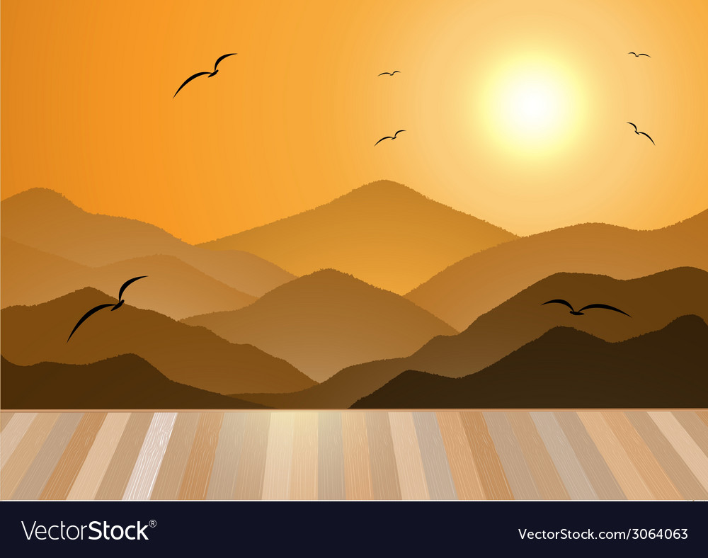 Evening Mountains with wooden Floor