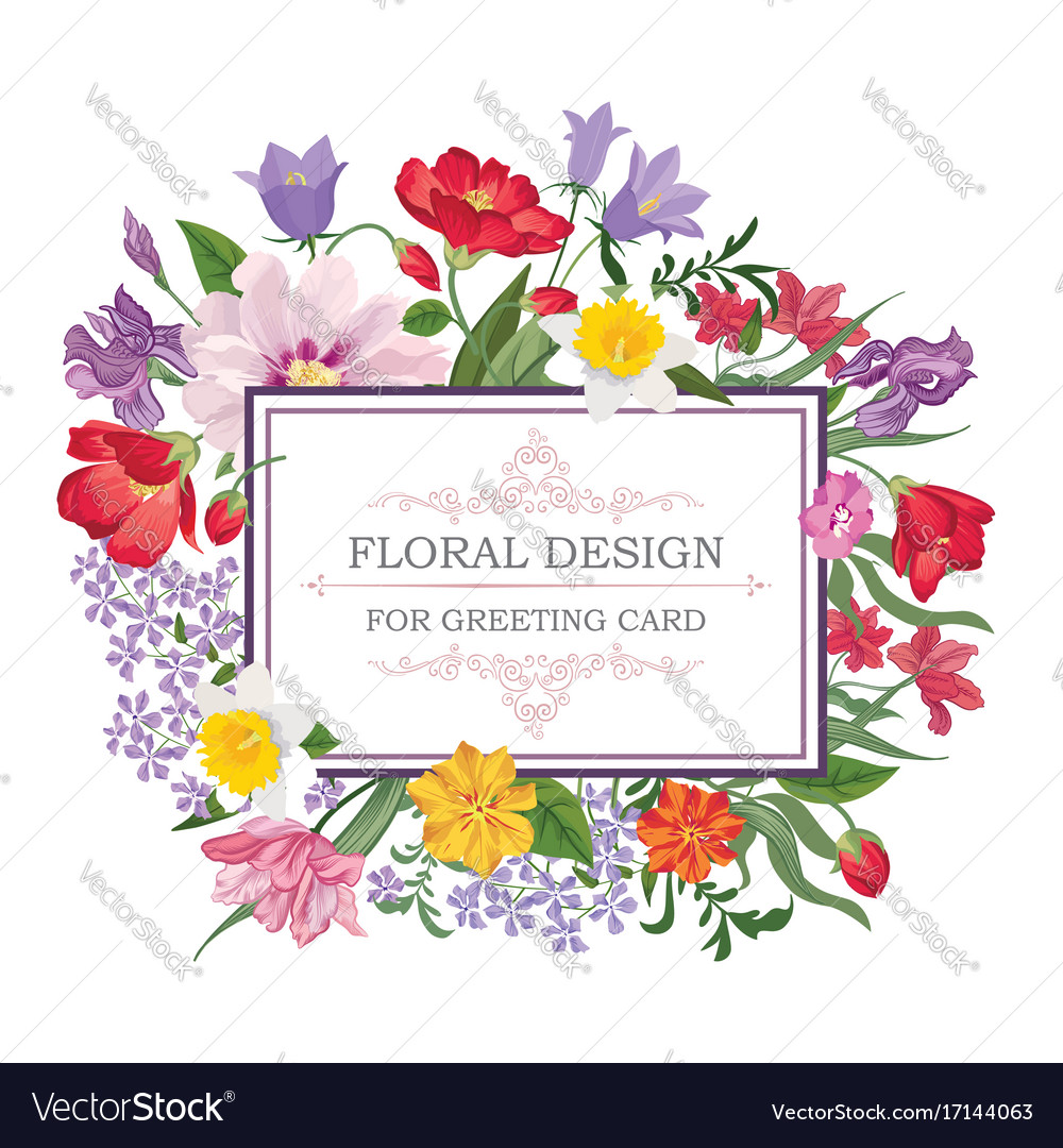 Floral frame summer greeting card flower bouquet