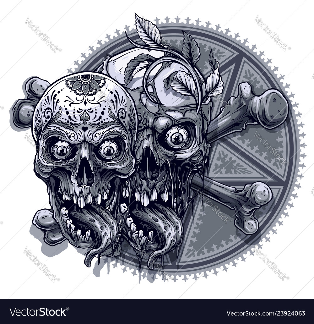 Graphic human skulls with pentagram star