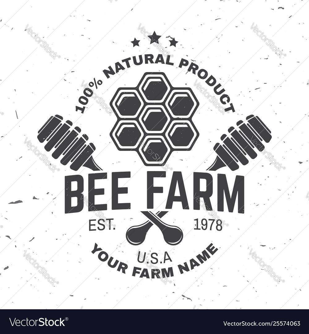 Honey farm badge concept for shirt print