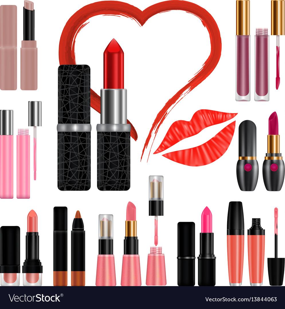 Lipstick mockup set kiss realistic style