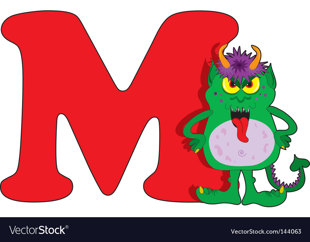 M Is For Monster Royalty Free Vector Image Vectorstock