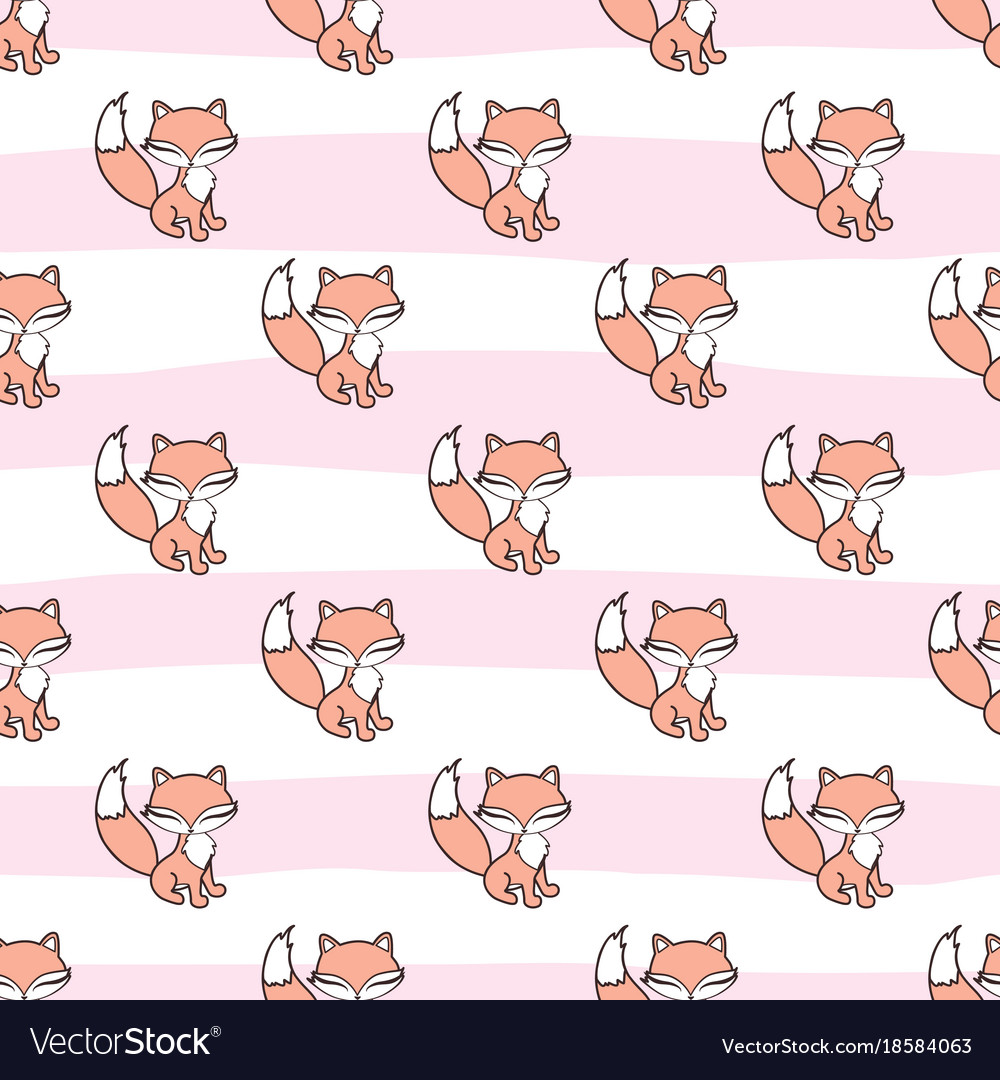 Seamless pattern with fox stickers isolated on