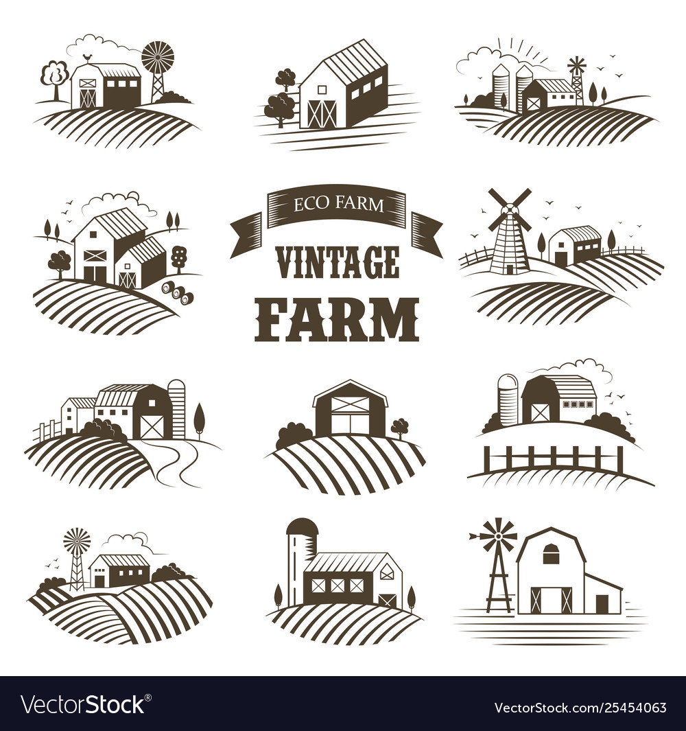 Set isolated vintage eco farms landscapes
