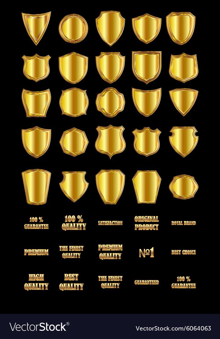 Set of vintage design elements-golden shields and