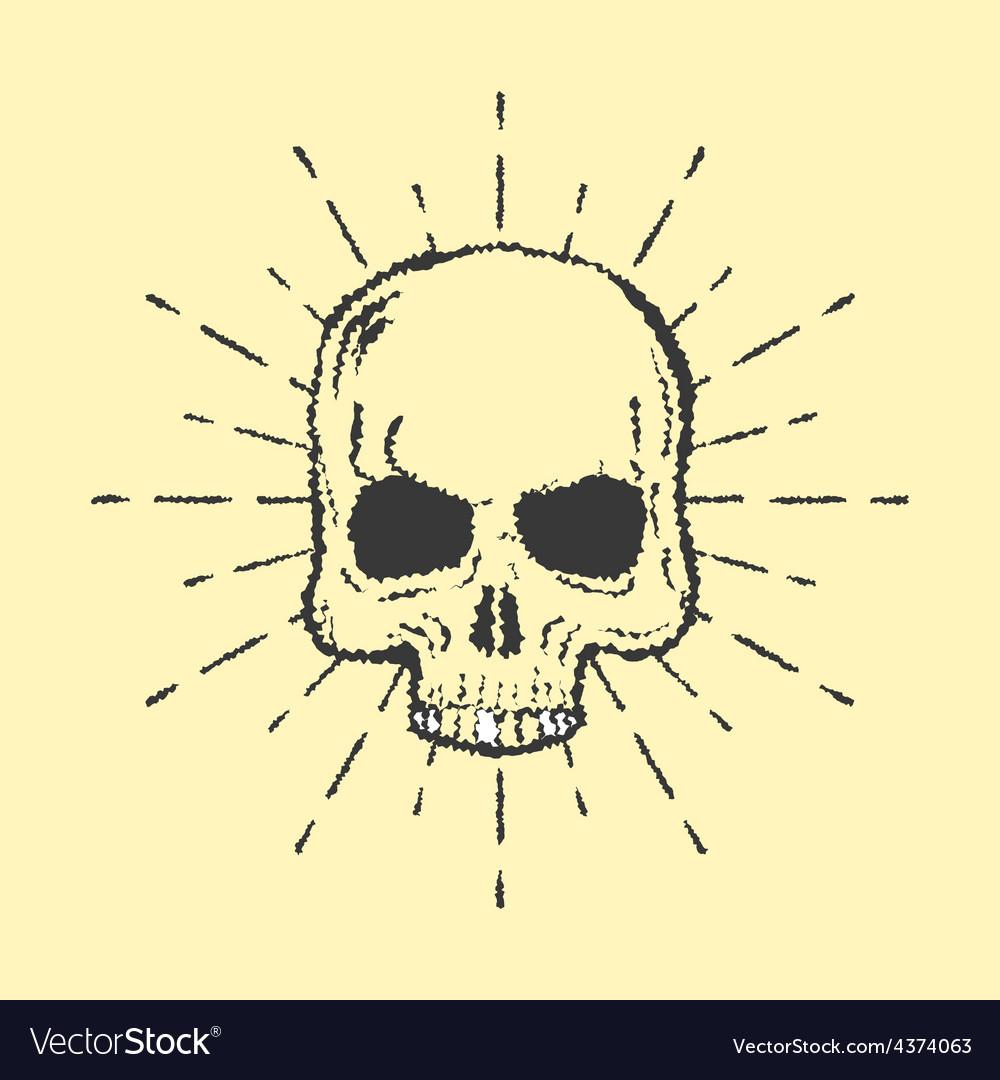 Skull with sunburst isolated on white background