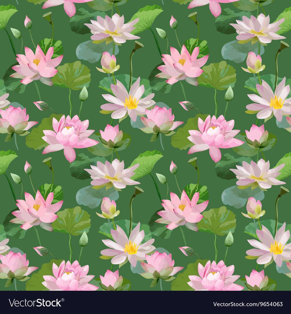 Vintage waterlily flowers seamless pattern vector image izmirmasajfo