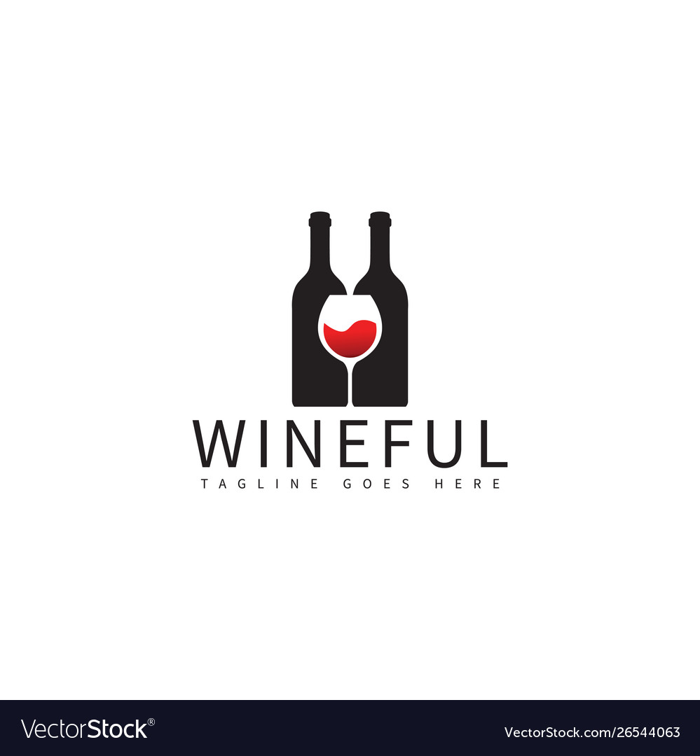Wine bottle and glass logo design template