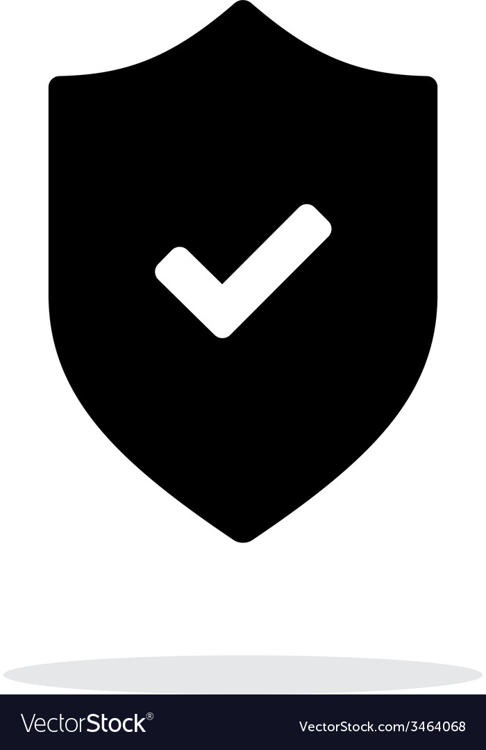 Accept shield icon on white background