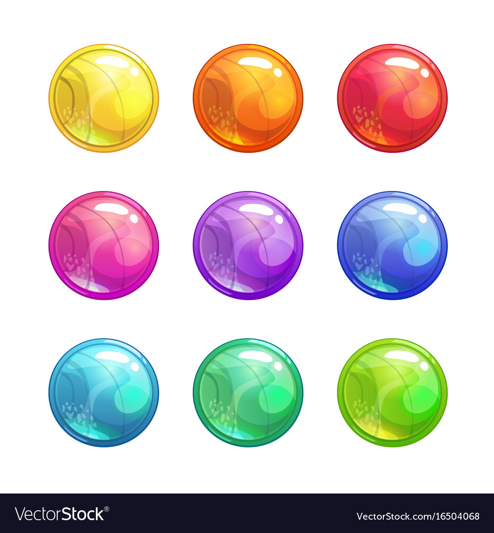 Cartoon glossy colorful round buttons