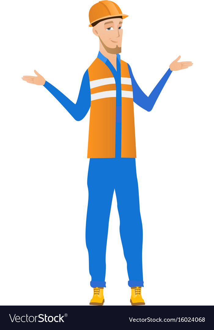 Confused young caucasian builder with spread arms vector image