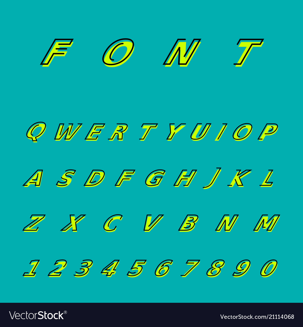 Creative simple font yellow on a blue background