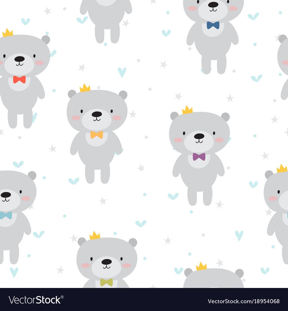 Cute seamless pattern with cartoon bear baby