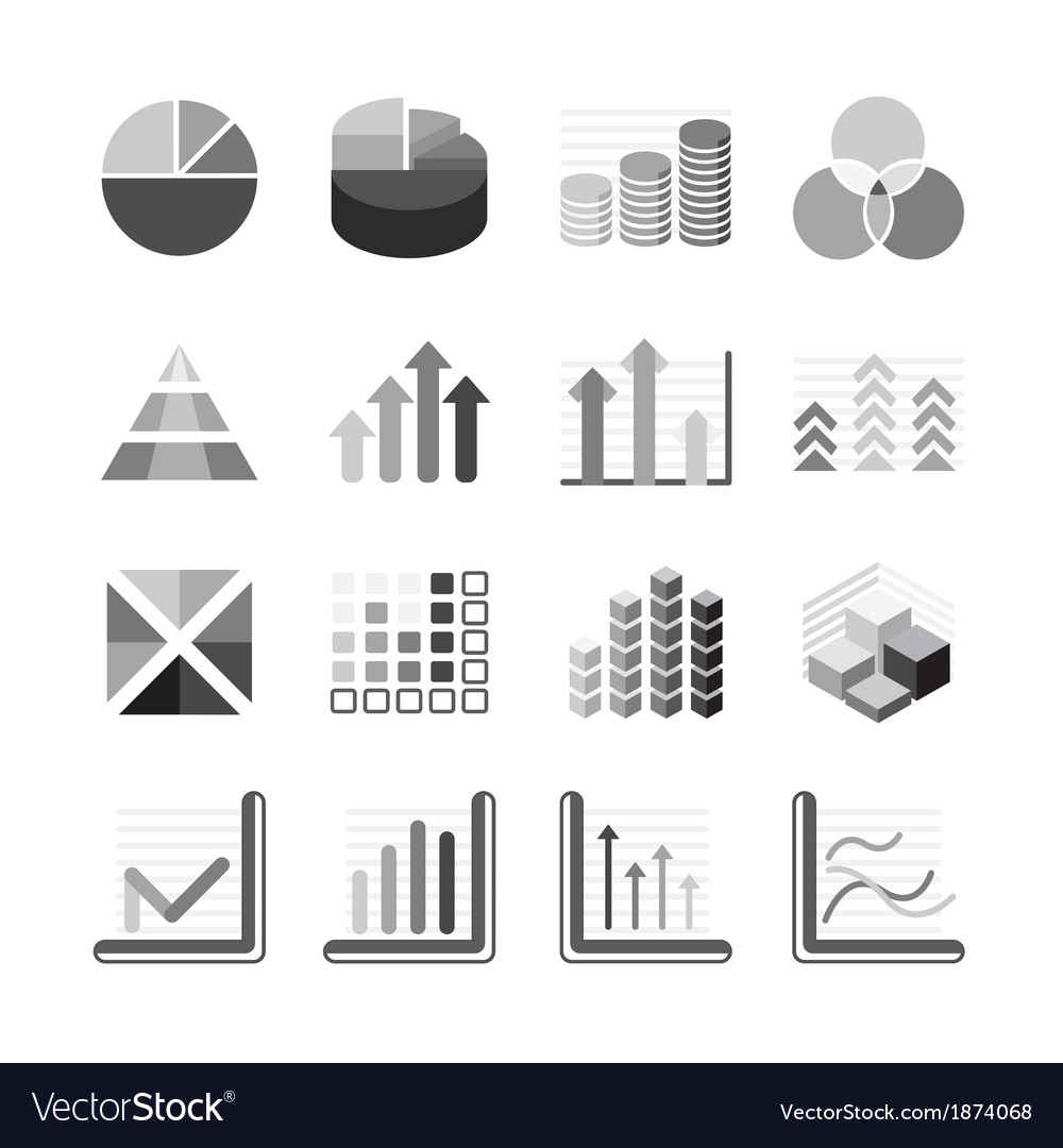 Graph chart Business and financial Icons set