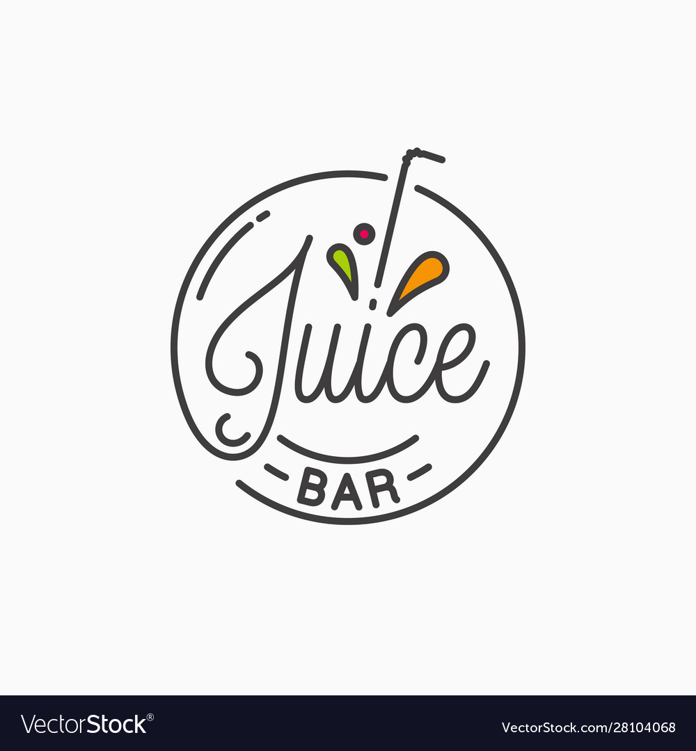 juice bar logo round linear logo juice splash vector image vectorstock