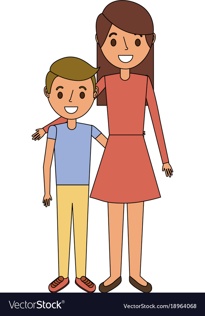 Mom Embracing Her Boy Son Happy Royalty Free Vector Image